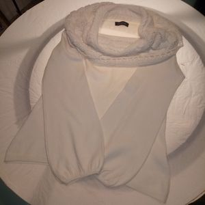 Ashley Stewart White Cowl Neck Sweater Sz Lg